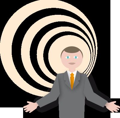 Illustration of man making presentation,