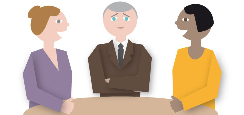 Illustration of man unable to speaking out at a meetings